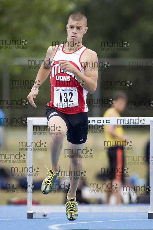Fawcett, Tyler competing in the 400m hurdles at the 2007 OTFA Junior-Senior Championships in Ottawa.