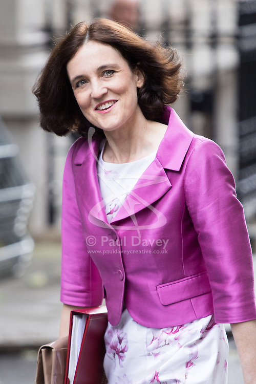Downing Street, London, June 14th 2016. Northern Ireland Secretary Theresa Villiers arrives at 10 Downing Street to attend the weekly cabinet meeting.
