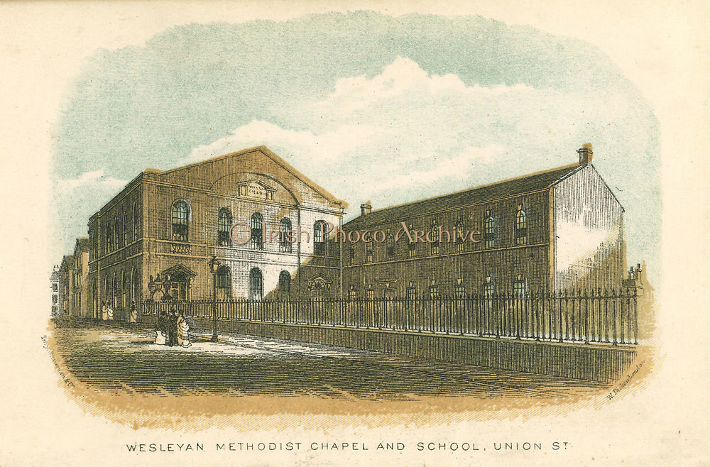 Rochdale, Lancashire, England. Wesleyan Methodist Chapel and School, Union Street. From William Robertson 'Rochdale Past and Present', Rochdale, 1876. Colour-printed engraving.