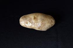 18 February 2016:   Studio - Potato on black #014.  A single baking potato shot in a studio on a black background.