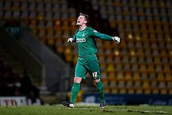 Goalkeeper Ben Williams of Bradford City celebrates after Jonathan Stead scores a goal to make it 2-0 - Photo mandatory by-line: Rogan Thomson/JMP - 07966 386802 - 14/01/2015 - SPORT - FOOTBALL - Bradford, England - Coral Windows Stadium - Bradford City v Millwall - FA Cup Third Round Replay.