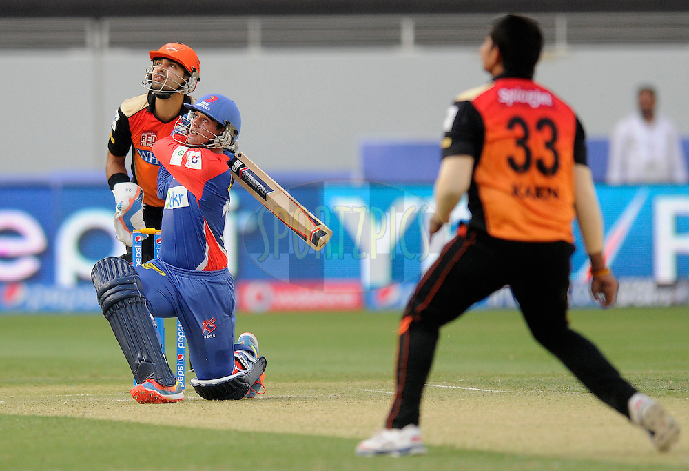 Quinton de Kock of the Delhi Daredevils bats during match 12 of the Pepsi Indian Premier League Season 7 between the Sunrisers Hyderabad and the Delhi Daredevils held at the Dubai International Stadium, Dubai, United Arab Emirates on the 25th April 2014<br /> <br /> Photo by Pal Pillai / IPL / SPORTZPICS