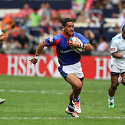 Maugalei Veavea scores the second try in American Samoa Talavalu history in the closing moments of their 31-12 loss to Italy at the 2014 HK 7's.  Photo by Barry Markowitz, 3/28/14, 3:30pm
