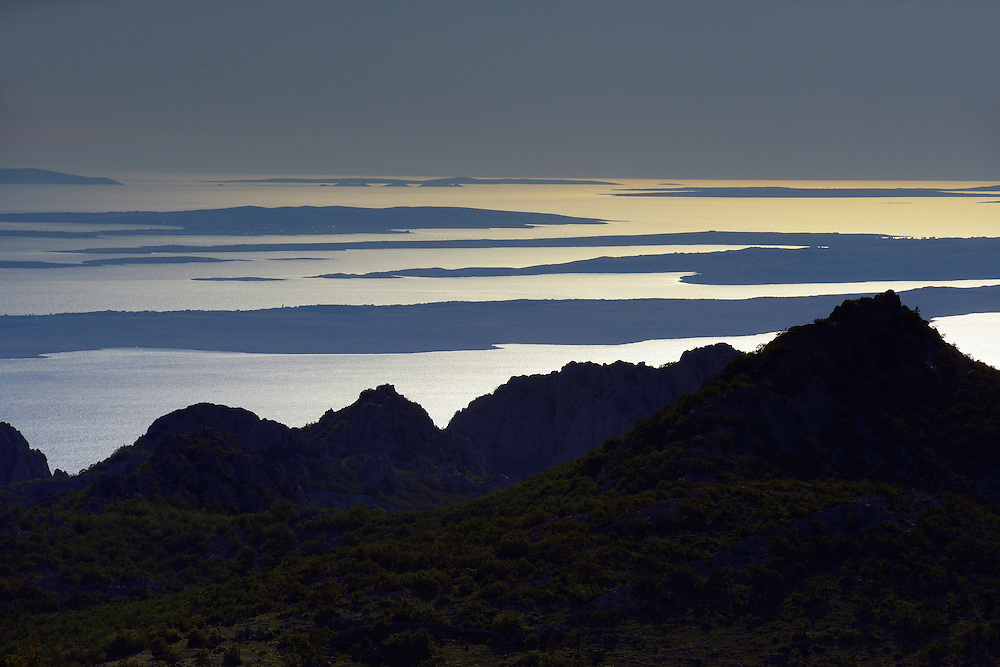 evening view over The Adriatic Sea, Paklenica National Park, Velebit Nature Park, Rewilding Europe rewilding area, Velebit  mountains, Croatia