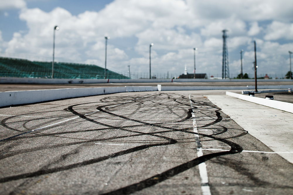 skid marks on racetrack at Myrtle Beach Motor Speedway