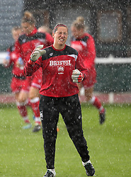 Caitlin Leach goalkeeper for Bristol City Women gets rain in her eyes during the warm up - Mandatory by-line: Robbie Stephenson/JMP - 25/06/2016 - FOOTBALL - Stoke Gifford Stadium - Bristol, England - Bristol City Women v Oxford United Women - FA Women's Super League 2
