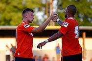Alex Wall of Luton Town (left) celebrates scoring his team's second goal to make it 0-2 with Ross Lafayette of Luton Town (right) during the Pre Season Friendly match at Top Field, Hitchin<br /> Picture by David Horn/Focus Images Ltd +44 7545 970036<br /> 17/07/2014
