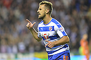 Reading's Carlos Orlando Sa celebrates his goal during the Sky Bet Championship match between Reading and Ipswich Town at the Madejski Stadium, Reading, England on 11 September 2015. Photo by Mark Davies.