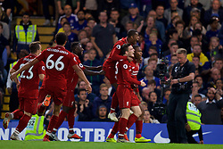 LONDON, ENGLAND - Saturday, September 29, 2018: Liverpool's Daniel Sturridge (right) celebrates with team-mates after scoring a late equalising goal to grab the Reds a 1-1 draw during the FA Premier League match between Chelsea FC and Liverpool FC at Stamford Bridge. (Pic by David Rawcliffe/Propaganda)