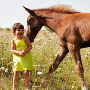 Little girl and a little horse