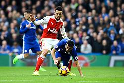 Francis Coquelin of Arsenal tackles Pedro of Chelsea - Mandatory by-line: Jason Brown/JMP - 04/01/2017 - FOOTBALL - Stamford Bridge - London, England - Chelsea v Arsenal - Premier League
