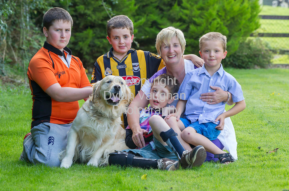 14/9/2012.Teresa Buckley pictured with her kids from left Charlie aged 13, Alex aged 8, Cian aged 11, Dylan 6 and their dog Marley..Picture Dylan Vaughan
