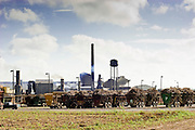 15 NOVEMBER 2005 - FRANKLIN, LA: The St. Mary Sugar Co-Op Mill near Franklin, Louisiana during the 2005 sugar cane harvest. Louisiana is one of the leading sugar cane producing states in the US and the economy in southern Louisiana, especially St. Mary and Iberia Parishes, is built around the cultivation of sugar. The mill employs about 180 people. The two mills near Franklin contribute about $150 million (US) to the local economy. Sugar growers in the area are concerned that trade officials will eliminate sugar price supports during upcoming trade talks for the proposed Free Trade Area of the Americas (FTAA). They say elimination of price supports will devastate sugar growers in the US and the local economies of sugar growing areas. They also say it will ultimately lead to higher sugar prices for US consumers.  PHOTO BY JACK KURTZ