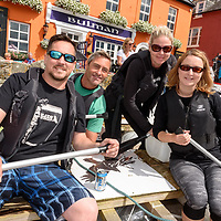 REPRO FREE<br /> Sam Black, Alan Long, Audrey Shaw and Maudeline Black on board the Blacks Brewery Raft before the start of the RNLI Raft Race in Kinsale on Saturday of the Bank Holiday Weekend<br /> Picture. John Allen