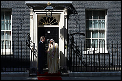 British Prime Minister David Cameron greets Sheikh Khalifa bin Zayed Al Nahyan at No10 Downing Street, UK, May 01, 2013. Photo by: Andrew Parsons / i-Images