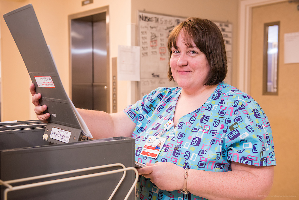 Elizabeth Chapman, RN, photographed Wednesday, May 20, 2015, at Baptist Health in Richmond, Ky. (Photo by Brian Bohannon/Videobred for Baptist Health)