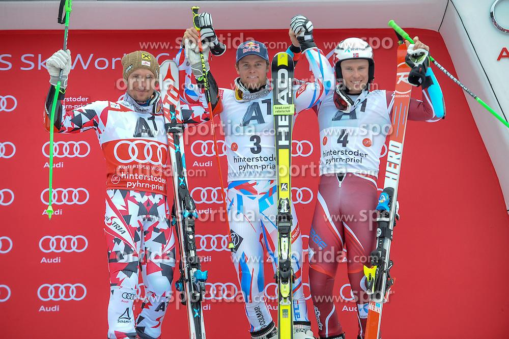 28.02.2016, Hannes Trinkl Rennstrecke, Hinterstoder, AUT, FIS Weltcup Ski Alpin, Hinterstoder, Riesenslalom, Herren, Podium, im Bild Marcel Hirscher (AUT, 2.Platz), Sieger Alexis Pinturault (FRA), Henrik Kristoffersen (NOR, 3.Platz) // Marcel Hirscher of Austria (second place)Alexis Pinturault of France (winner)Henrik Kristoffersen of Norway(third place) celebrate on Podium of men's Giant Slalom of Hinterstoder FIS Ski Alpine World Cup at the Hannes Trinkl Rennstrecke in Hinterstoder, Austria on 2016/02/28. EXPA Pictures © 2016, PhotoCredit: EXPA/ ERICH SPIESS