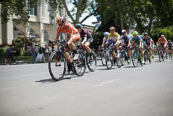 Evelyn Stevens (USA) of Boels-Dolmans Cycling Team keeps the pace high during the fourth, 70 km road race stage of the Amgen Tour of California - a stage race in California, United States on May 22, 2016 in Sacramento, CA.