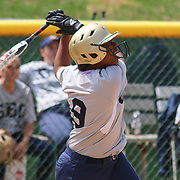 Goldey-Beacom infielder Asia Ellis (9) attempts to make contact with ball at home plate during a NCAA Central Atlantic Collegiate Conference game between Nyack College and Goldey-Beacom Saturday, April 19, 2014, at Nancy Churchmann Sawin Athletic Field in Wilmington Delaware.<br /> <br /> Goldey-Beacom defeats Nyack College 10-5 in Game 1<br /> <br /> Nyack College defeats Goldey-Beacom 1-0 in Game #2