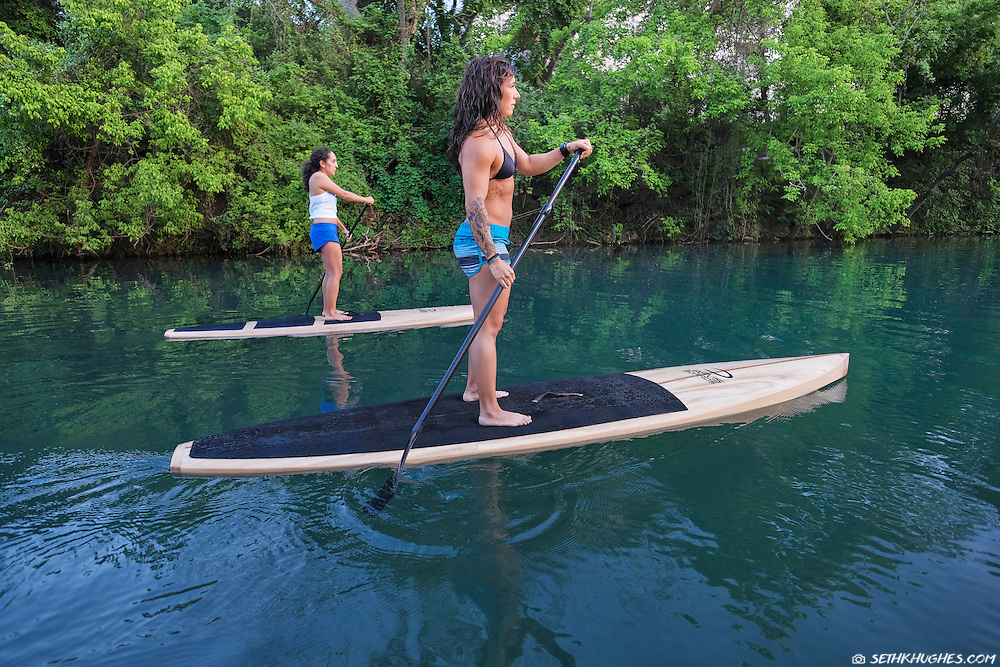 Stand up paddle boarding near Barton Springs in Austin, Texas.