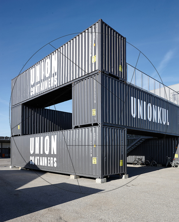 Containerbyen, Nordhavn, genbrugsbyggeri af gamle containere, nybyggeri af kontorlokaler Container Hus, UNION KUL; UNION CONTAINERS, facader