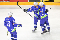 Ales Music of Slovenia, Aleksandar Magovac of Slovenia and Ken Ograjensek of Slovenia celebrate after first goal of Slovenia during Ice Hockey match between National Teams of Hungary and Slovenia in Round #3 of 2018 IIHF Ice Hockey World Championship Division I Group A, on April 25, 2018 in Arena Laszla Pappa, Budapest, Hungary. Photo by David Balogh / Sportida