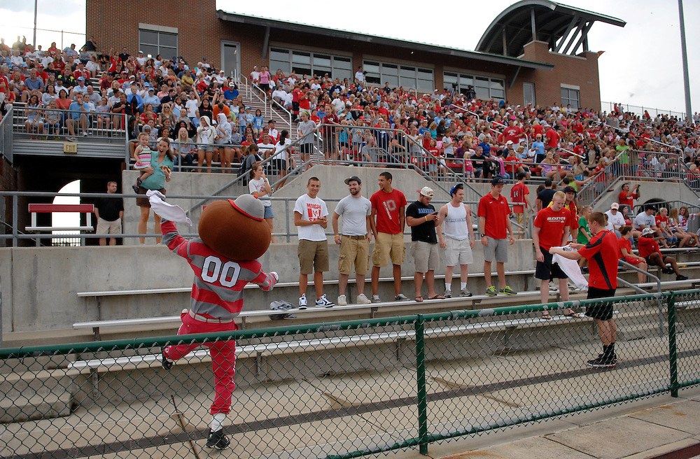 Brutus pumps up the fans as Ohio State takes on the University of North Carolina in the first half of an NCAA women's college soccer game in Columbus, Ohio on Sunday, Sept. 4, 2011, at Jesse Owens Memorial Stadium.