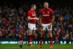 Gareth Anscombe of Wales lines up a kick at goal<br /> <br /> Photographer Simon King/Replay Images<br /> <br /> Six Nations Round 5 - Wales v Ireland - Saturday 16th March 2019 - Principality Stadium - Cardiff<br /> <br /> World Copyright © Replay Images . All rights reserved. info@replayimages.co.uk - http://replayimages.co.uk