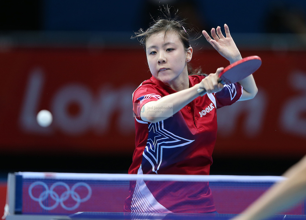 Ariel Hsing of the USA returns a shot against Lain Ni Xia of Luxembourg during a table tennis match at the Olympic Games in London, England, United Kingdom, on 29 Jul 2012..(Jed Jacobsohn/for The New York Times)....