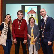 05/03/2019<br /> Pictured are award winners Michael John and Helen O'Regan from Brothers of Charity Our Lady of Lourdes, along with Sara Montoya, co-op member of Fairtrade Colombia, and Cllr Daniel Butler, Mayor of the Metropolitan District of Limerick.<br /> <br /> Fairtrade worker Sara Montoya, from a Fairtrade Coffee Co-op in Colombia was the special guest in Limerick City and County Council chamber today at an event to coincide with Fairtrade Fortnight.<br />  <br /> Sara joined Fairtrade supporters from across Limerick and Ireland for the annual initiative, which features a programme of talks and community events aimed at promoting awareness of Fairtrade and Fairtrade-certified products.<br />  <br /> Speaking at the event in Dooradoyle, Sara outlined the success and benefits of the Fairtrade movement in Colombia and how important it is for people in the developed world think of Fairtrade products when shopping.<br />  <br /> This year's campaign 'Create Fairtrade' invites us all to use our imagination and create fairtrade in our lives.<br />  <br /> Young people from across Limerick city and county were also a focus of the event as they displayed their posters, which they created to help change the way people think about trade and the products on our shelves.<br /> Photo by Diarmuid Greene