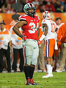January 3, 2014 - Miami Gardens, Florida, U.S: Ohio State Buckeyes running back Carlos Hyde (34) during second half action of the Discover Orange Bowl between the Clemson Tigers and the Ohio State Buckeyes. Clemson defeated Ohio State 40-35 at Sun Life Stadium in Miami Gardens, Fl