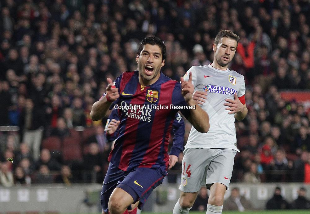 11.01.2015. Barcelona, Spain. La liga football. Barcelona versus Atletico Madrid. Luis Suarez (Barca)celebrates his goal