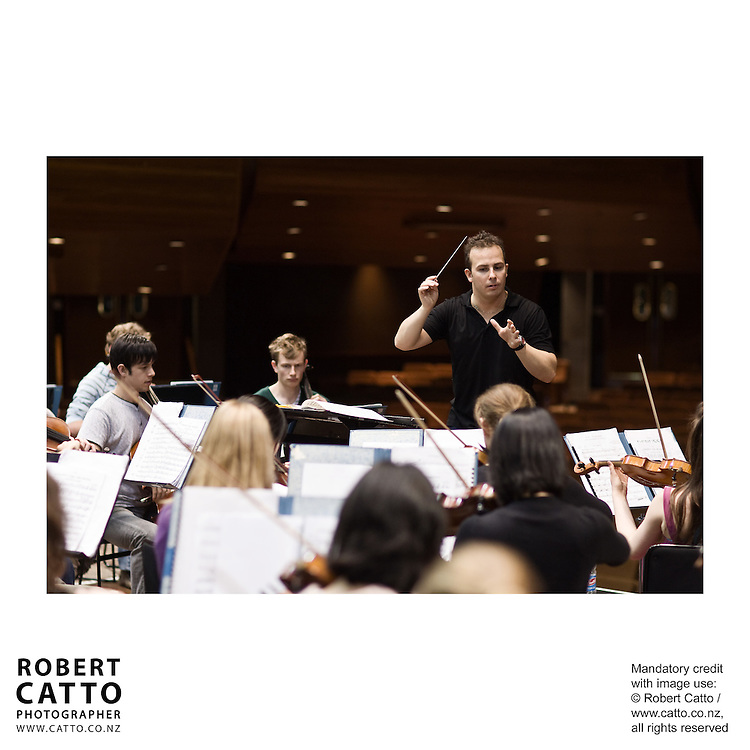 The New Zealand National Youth Orchestra rehearses with conductor Yannick Nezet-Seguin at the Michael Fowler Centre, Wellington.