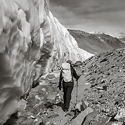Renee trekking along side the Canada Glacier