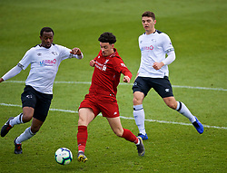 DERBY, ENGLAND - Friday, March 8, 2019: Liverpool's Curtis Jones scores the first goal during the FA Premier League 2 Division 1 match between Derby County FC Under-23's and Liverpool FC Under-23's at the Derby County FC Training Centre. (Pic by David Rawcliffe/Propaganda)