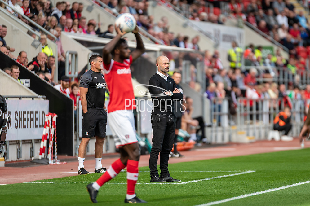 Rotherham United Manager Paul Warne during the EFL Sky Bet League 1 match between Rotherham United and Bolton Wanderers at the AESSEAL New York Stadium, Rotherham, England on 14 September 2019.