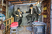 "Jake and Elwood at the Classical Gas Museum in Embudo, New Mexico.  The proprietor of this off-beat museum has what is believed to be one of the largest collections of antique gas pumps to be found just about anywhere.  There are several vehicles on the property in various states of decomposition, along with an entire diner that had been relocated to the site in its entirety.  This full-sized ""Blues Brothers"" diorama, featuring Jake and Elwood, also resides there."