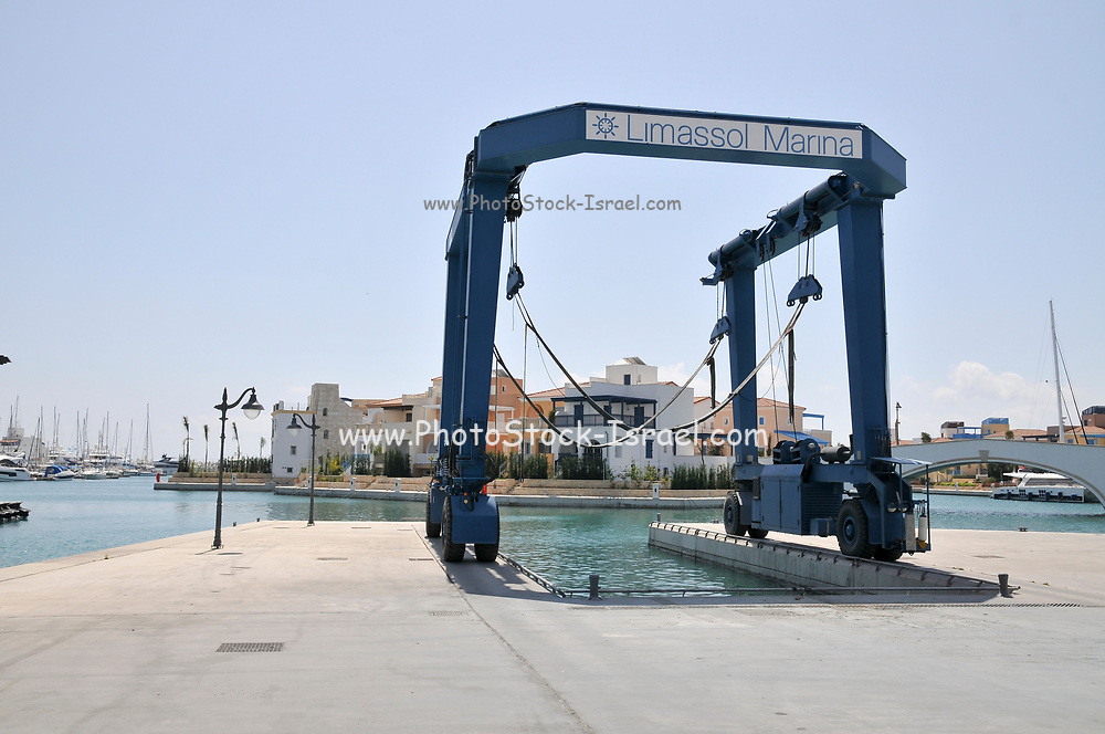 boat crane at the Marina, Old Town Limassol, Cyprus