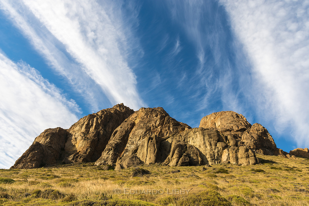 Massive rocks East from El Chalten, by the trail to Mount Fitzroy.