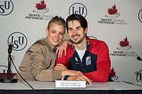 KELOWNA, BC - OCTOBER 26:  American ice dance team, Madison Hubbell and Zachary Donohue pose for a photo during a press conference at Prospera Place on October 25, 2019 in Kelowna, Canada. (Photo by Marissa Baecker/Shoot the Breeze)