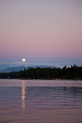 """Lake Tahoe Full Moon Sunset 2"" - This full moon and sunset was photographed from the West Shore of Lake Tahoe, CA."