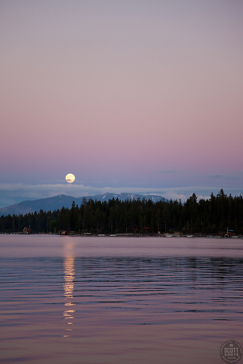 """""""Lake Tahoe Full Moon Sunset 2"""" - This full moon and sunset was photographed from the West Shore of Lake Tahoe, CA."""