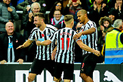 Jose Salomon Rondon (#9) of Newcastle United celebrates Newcastle United's second goal (2-0) with Matt Ritchie (#11) of Newcastle United and Paul Dummett (#3) of Newcastle United during the Premier League match between Newcastle United and Bournemouth at St. James's Park, Newcastle, England on 10 November 2018.