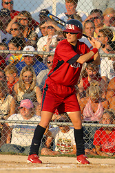 30 June 2004  USA's Laura Berg awaits a pitch. Bloomington Lady Hearts vs. USA Olympic Softball Team.  Champion Field #1.  Normal Illinois