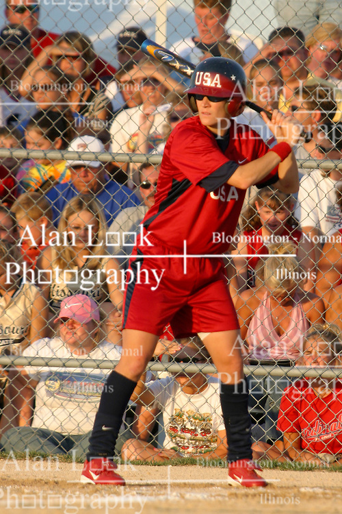 30 June 2004  USA's Laura Berg awaits a pitch. Bloomington Lady Hearts vs. USA Olympic Softball Team.  Champion Field #1.  Normal Illinois