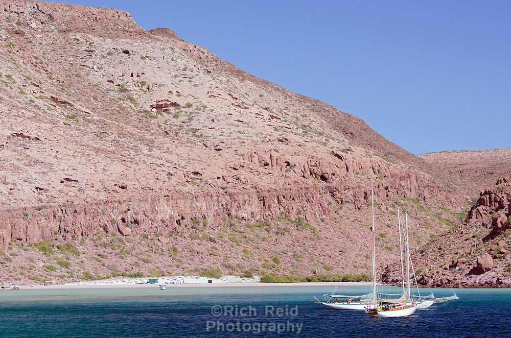 Sailboats at Ensenada Grande on Isla Partida in Baja California, Mexico.