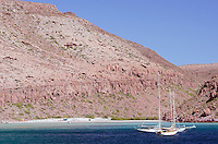 Sailboats at Ensenada Grande on Isla Partida in Baja California, Mexico.