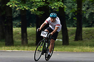 Chorzow, Poland - 2018 June 11: Special Olympics Athlete Damian Nowecki competes in men's 500m cycling competition during National Special Olympics Games 2018 at Slaski Stadium on June 11, 2018 in Chorzow, Poland.<br /> <br /> Adam Nurkiewicz declares that he has no rights to the image of people at the photographs of his authorship.<br /> <br /> Picture also available in RAW (NEF) or TIFF format on special request.<br /> <br /> Any editorial, commercial or promotional use requires written permission from the author of image.<br /> <br /> Image can be used in the press when the method of use and the signature does not hurt people on the picture.<br /> <br /> Mandatory credit:<br /> Photo by © Adam Nurkiewicz / Mediasport