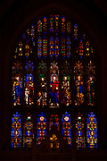 The heavy stained-glass windows inside the Trinity Church are all gifts given in memory of the Rhinelander family.