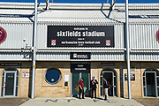 Sixfields Stadium main entrance during the EFL Sky Bet League 1 match between Northampton Town and Oldham Athletic at Sixfields Stadium, Northampton, England on 5 May 2018. Picture by Dennis Goodwin.